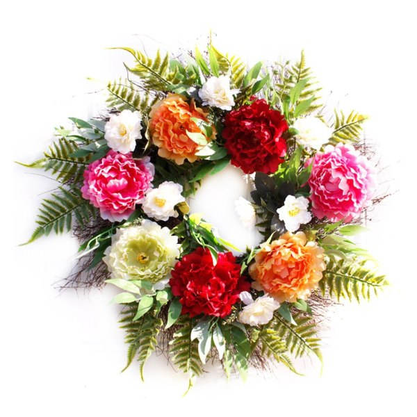 61cm Artificial Peony Flower Wreath Silk Spring Wreath for The Front Door Wall Hanging Window Wedding Party Decoration