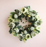 15.7Inch Multiple Styles Silk Peony Artificial Flowers Wreaths Door Perfect Quality  for Wedding Home Party Decoration
