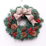 American mock Christmas Wreath with Pine cones for front door wreath for home  decoration 16 inch