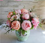 European 13 Branch/Bouquet Artificial silk flowers Peony  flores artificiales Fake  Rose Bridal Wedding decor home wreath