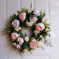 Artificial Flower Light Pink Peony Wreath Decorated for Hallowee Home Wedding Garden Party Decor Wreath Hanging Door Silk Flower