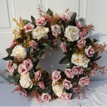 40CM Nordic red Rose Artificial Flower Wreath Wall Hanging Artificial Fake Flower Dried Flowers Bridal Garland Charm Home Decor