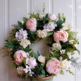 Artificial Flower Light Pink Peony Wreath Decorated for Hallowee Home Wedding Garden Party Decor Wreath Hanging Door Silk Flower