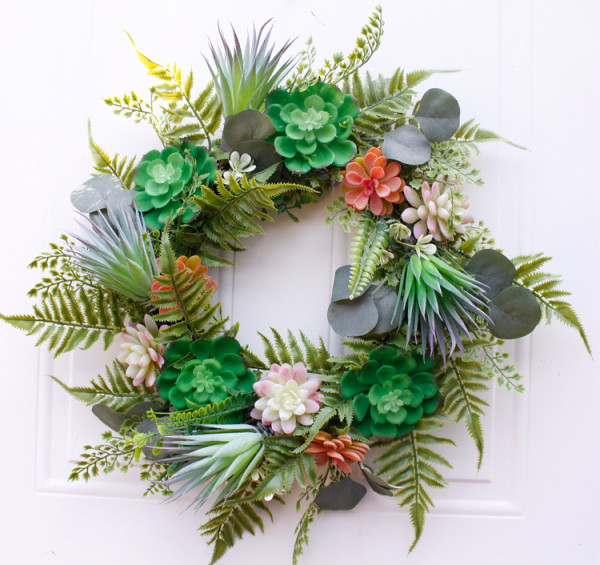 50cm Artificial Succulent Wreath Fern Plants Spring Backdrops Ornaments Garland Front Door Wreaths Display for Home/W
