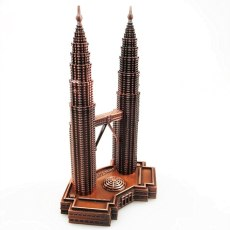 Classical 3D Handmade Tower Model Twin Tower Decoration Petrons Tower Dispaly Metal Construction Model KLCC Ornament Artwork Toy