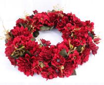 European dahlia garland Wreath Decorated for Hallowee Home Wedding Garden Party Decor Wreath Hanging Door Silk Flower