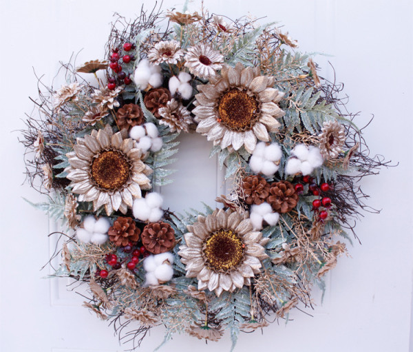 56cm Simulated Garland Sunflower Wreath Wall Hanging Door Decoration Home Decoration Farmhouse Deocr Little daisy artificial flower