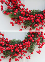 Christmas Berry Wreath Wall Hanging Door Decoration Home Decoration Farmhouse Deocr Little daisy artificial flower