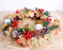 Christmas Wreath of Maple Leaves And Pine ConesHome Wedding Garden Party Decor Wreath Hanging Door Silk Flower