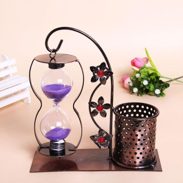 Classical 3D DIY Toy Iron Brush Pot Study Schoolroom Decoration Classroom Things Table Display Sand Clock Ornament Sand Glass