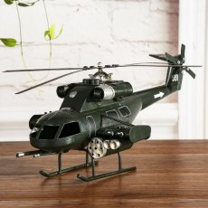 Classical 3D Handmade Plane Model Airplane Ornament Helicopter Decoration Iron Material Simulation Aeroplane Copter Artwork Toy