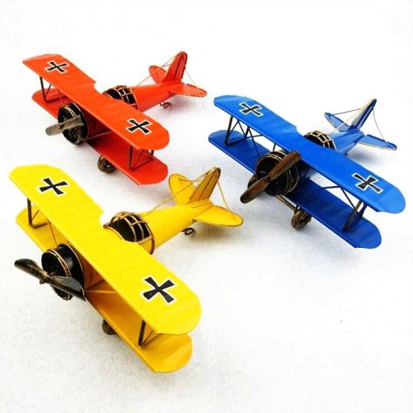 Classical 3D Handmade Plane Model Biplane Decoration Airplane Display Jet Aircraft Aeroplane Artwork Vintage Souvenirs Gift Toy