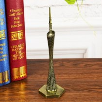 Vintage 3D Toy Handmade Zinc Alloy Canton Tower Decoration Home Cafe Office Ornament Construction Model Building Model