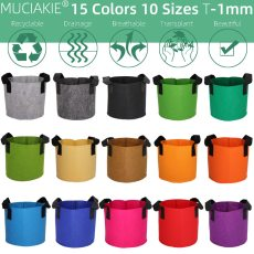 MUCIAKIE 15 Colors 10 Sizes Garden Grow Bag w/ Handles Indoor Outdoor Fabric Aeration Plant Pot Container Flower Vegetable Pouch