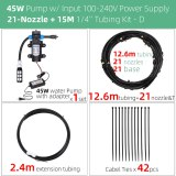 RBCFHI Misting Cooling System with 45W Pump Filter Kit 6M-21M Garden Irrigation Watering Kits Outdoor Patio Porch Greenhouse