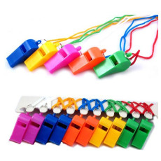 10Pcs Mix Color Plastic Whistle with Lanyard Neck Chain for School Outdoor Sports Boats Party Games Dot Trainning