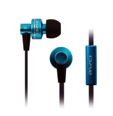 Awei 900I Supper Bass Noise Isolation In-ear Earphone Metal Flat Cable Headest with Mic for Smartphone Tablet PC