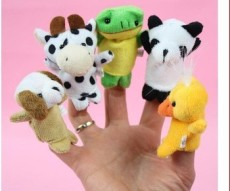 F08869 xt-xinte 1 Piece Velvet Finger Puppet Mini Cloth Animal Design Play Learn Story Toy Random Shipped + FreePost
