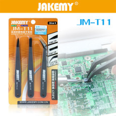 JAKEMY 3 in1 Anti-static Tweezers Kit Heat Resistant Flat Pointed Curved Tweezers Set for Phone Laptop PCB Repair