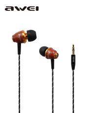 Awei ES-Q5 Wooden Super Bass in-ear Earphone Noise Isolation 3.5mm Headset for PC/ MP3/ MP4/Smart Phone
