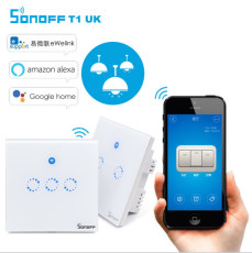 Sonoff T1 UK 1-3 Gang Smart Wall Panel Touch Light Switch 1C/2C/3C WiFi / RF/APP 86 Type Remote Control Switch Smart Home