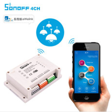 Sonoff 4CH Smart Wireless WiFi Switch 4-Gang Din Rail Mounting Switches Home Automation on/off Phone remote control 10A/2200W