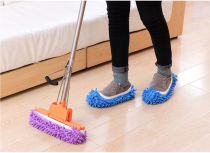 1 Pair Chenille Mop Wipe Slippers Shoes Lazy Shoe Mop Caps Set Anti-slip Water