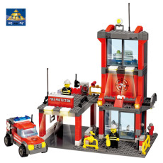 Firefighter Building Blocks Fire Station Compatible legoed City Car Model Bricks Block Educational Toy 300+pcs For Children Kids