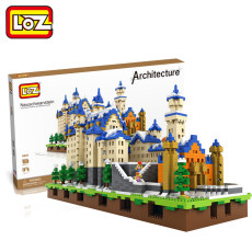 LOZ Diamond Blocks Neuschwanstein Castle Architecture Toys 3D Model DIY New Swan Stone Castle Block Building Educational Bricks