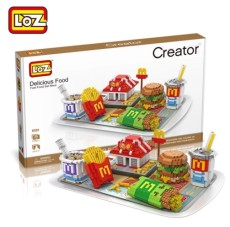 LOZ Diamond Blocks Sushi / Fast Food Set Meal Building Block Food Fries Hamburgers Assembly Model Bricks Toys DIY Toy Gifts