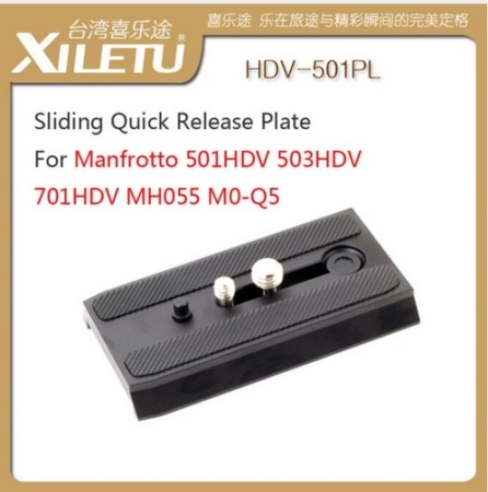 XILETU HDV-501PL Rapid Sliding Mounting Bracket Quick Release Plate For Manfrotto 501HDV 503HDV 701HDV MH055M0-Q5