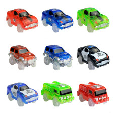 1 Pcs LED Light up Car for Tracks Electronics Car Toys With Flashing Lights Toy Vehical For Kid Children Best Toy Gifts