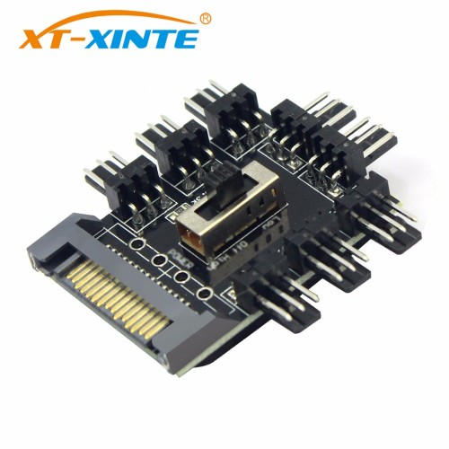 US$ 1 59 - 1 to 8 4Pin/SATA Molex Cooler Fan Hub Splitter