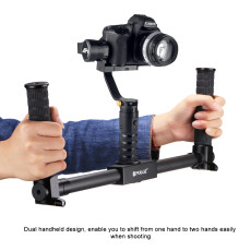 PULUZ PU369 Dual Handheld Grip Carbon Fiber Metal Camera Stabilizer for DV / DSLR Camera