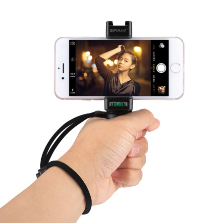 PULUZ PU366 Handheld Phone Grip Rig Stabilizer ABS Tripod Adapter Mount with Cold Shoe
