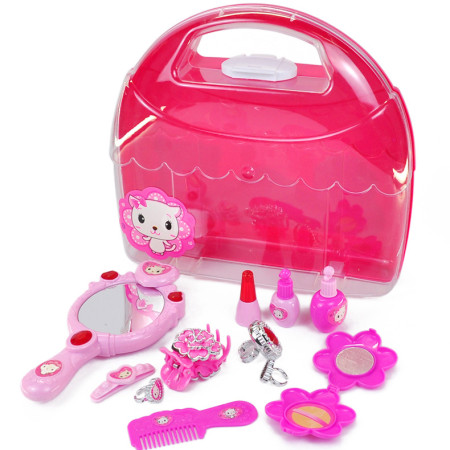 Feichao 12pcs/set Girl Dressing Jewelry Toy Set Portable Box Carrying Case for Baby Gift Girls Pretend Play Make Up Game