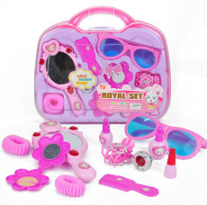 Feichao 11pcs/set Girl Dressing Jewelry Toy Set Carrying Case for Baby Gift Girls Pretend Play Make Up Game