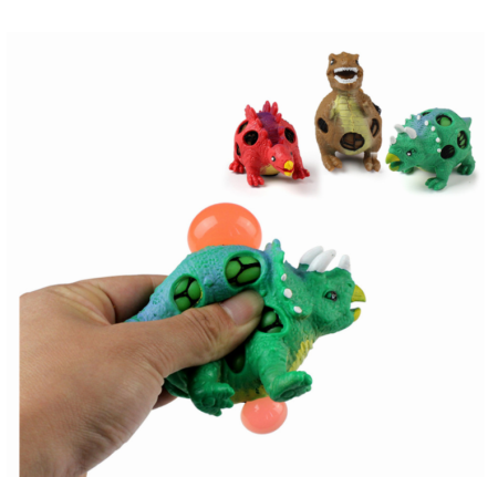 3Pcs Children Pinch Grape Dinosaur Novelty Gag Toys Explode Bead Decompression Relief Grape Ball Tyrannosaurus Practical Jokes