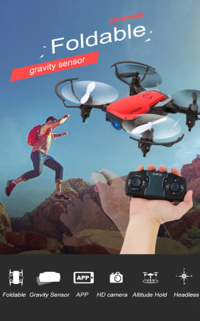 Feichao 8810 Mini Foldable Quadcopter Pocket Drone FPV WIFI Camera Drone with Gravity Sensor Altitude Hold RC Toys for Kids