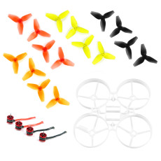 JMT 75mm Bwhoop75 Brushless Whoop Frame with 8Pairs CW CCW 40mm 3-Blade Propeller 4pcs SE0603 KV19000 1mm Motor for Indoor FPV Racing Drone Quadcopter