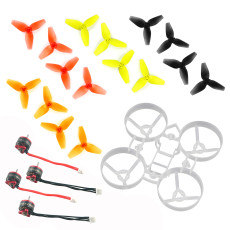 JMT Indoor FPV Racing Drone Quadcopter Parts 75mm Bwhoop75 Brushless Whoop Frame with 40mm CW CCW 3-Blade Propeller SE0703 KV15000 1mm Motor