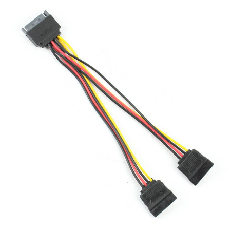 XT-XINTE SATA One to Two Power Cord 20cm Length 18AWG Wire 15Pin Serial Power Supply Converter