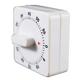 XT-XINTE Plastic 60 Minute Mechanical Kitchen Cooking Timer Food Preparation Baking Alarm Reminder Count Down Clock Cooking Tool Portable White Square