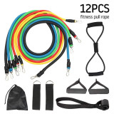 XT-XINTE 12pcs Resistance Bands Set Rubber Tubes Band Stretch Training Rally Rope Fitness Sports Equipment Household Chest Expander