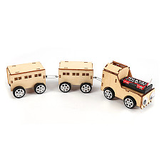 FEICHAO Electric Train Vehicle Drawable Wooden 3D Puzzle Kit DIY Assembling Model Science Early Learning Kids Educational Toys for STEM