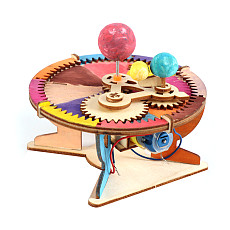 FEICHAO DIY Science Toys Solar System Model Wooden Astronomy Sun Earth Moon Planet School Educational Experiment Kids Electric STEM Kits