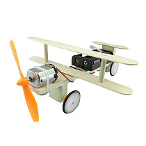 FEICHAO DIY Electric Airplane Wooden Model Airplane Taxiing Kit Motor Technology Physics Science Educational Experiments Children's Toy for Children's STEM Puzzle