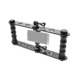 BGNing Aluminum Dual-hand Diving Shell Bracket with Phone Stand Holder Clip for gopro / DJI / Xiaoyi / EKEN Sports Cameras