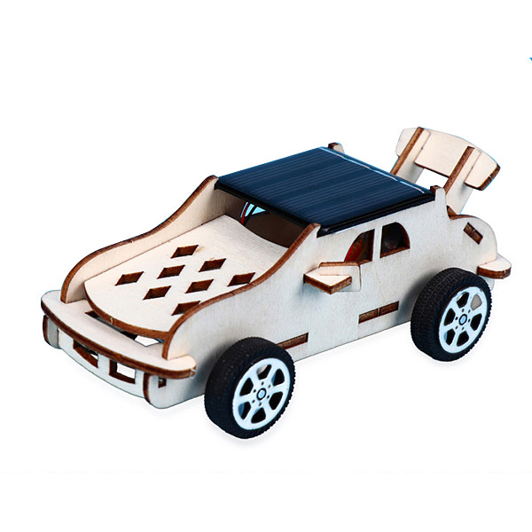 FEICHAO DIY Assembled Model Kit 3D Puzzle Solar Powered Car 4WD Wooden Graffiti Painted Color Kids Boys Gift Educational Toys for Stem