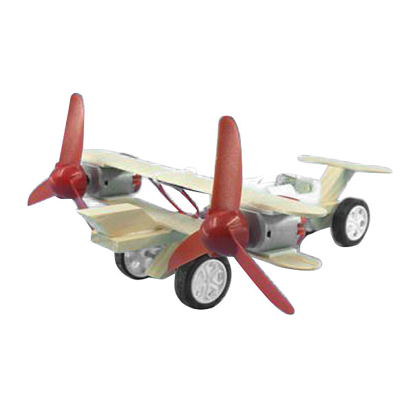 Feichao Kids DIY Assembly Toys Model Aircraft Taxiing Biplane Wooden Airplane Double Electric Motor for Kids Education Science Gift